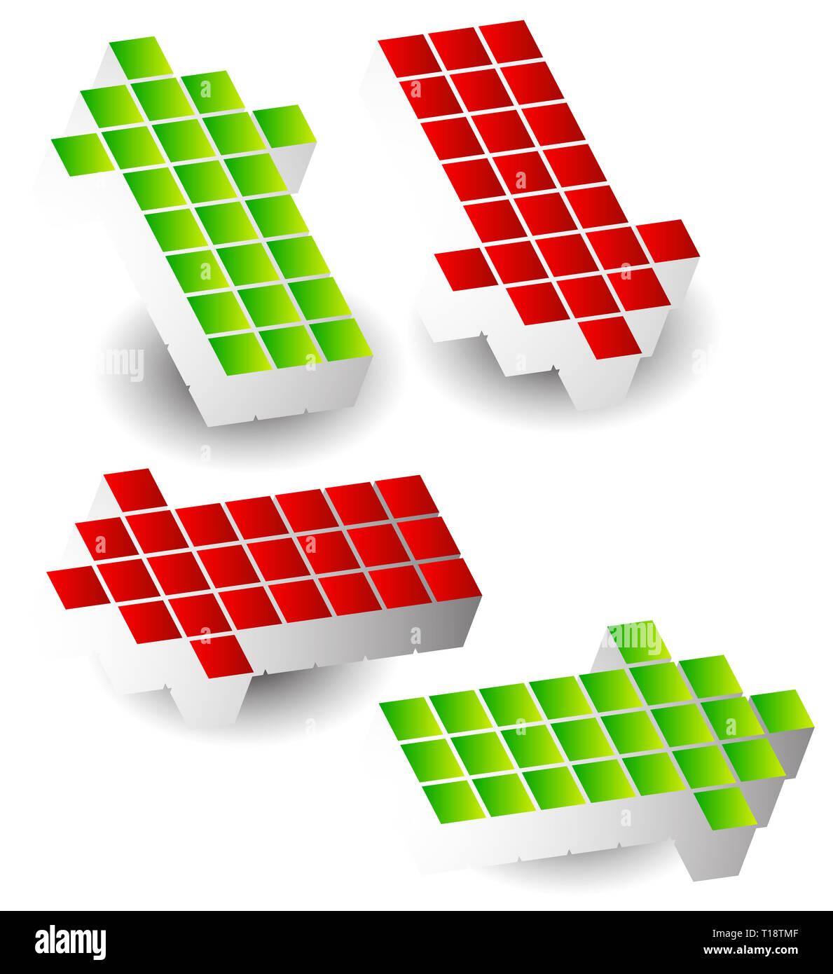 Satz von 4 Pfeil links, rechts, oben, unten. 3D Pfeile, Würfel, Blöcke gemacht. Stockfoto