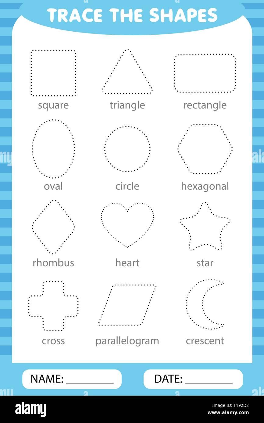 Lernen Für Kinder Zeichnung Aufgaben Die Geometrischen Formen Um