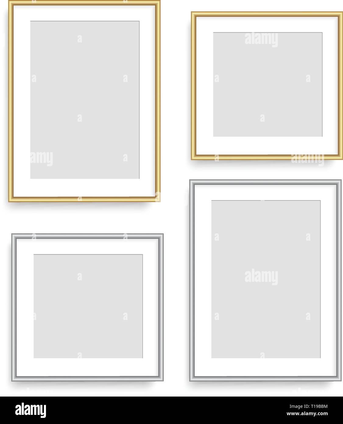 Realistische Silber und Golden Square Bilderrahmen. Vektor. Stockbild