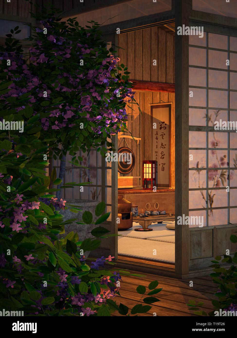 3D-Computergraphik eines gemütlichen kleinen Teehaus Stockbild