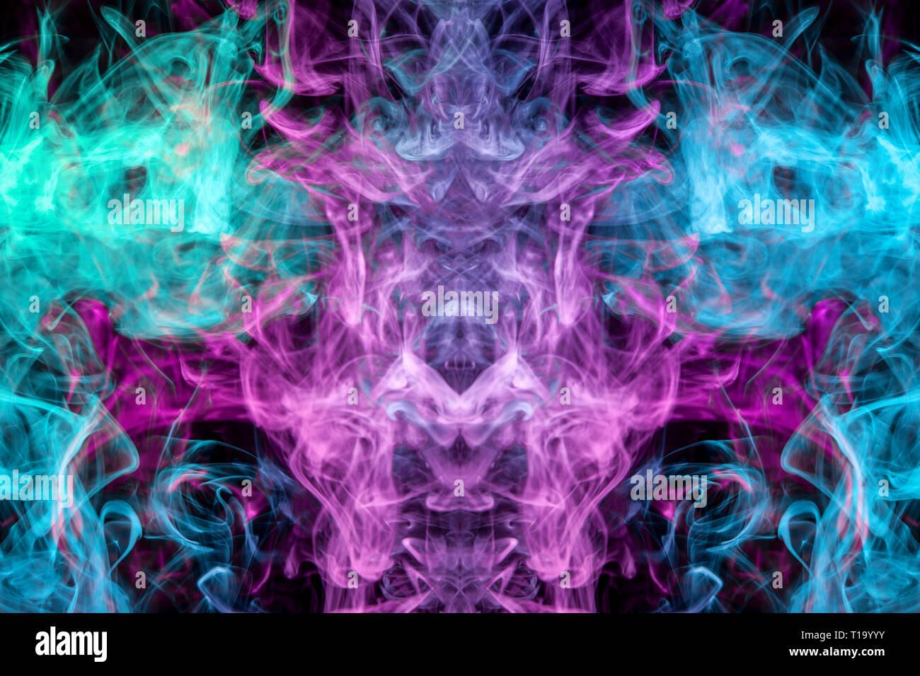 Rosa Und Blaue Wolke Von Rauch Schwarz Isoliert Hintergrund In Form
