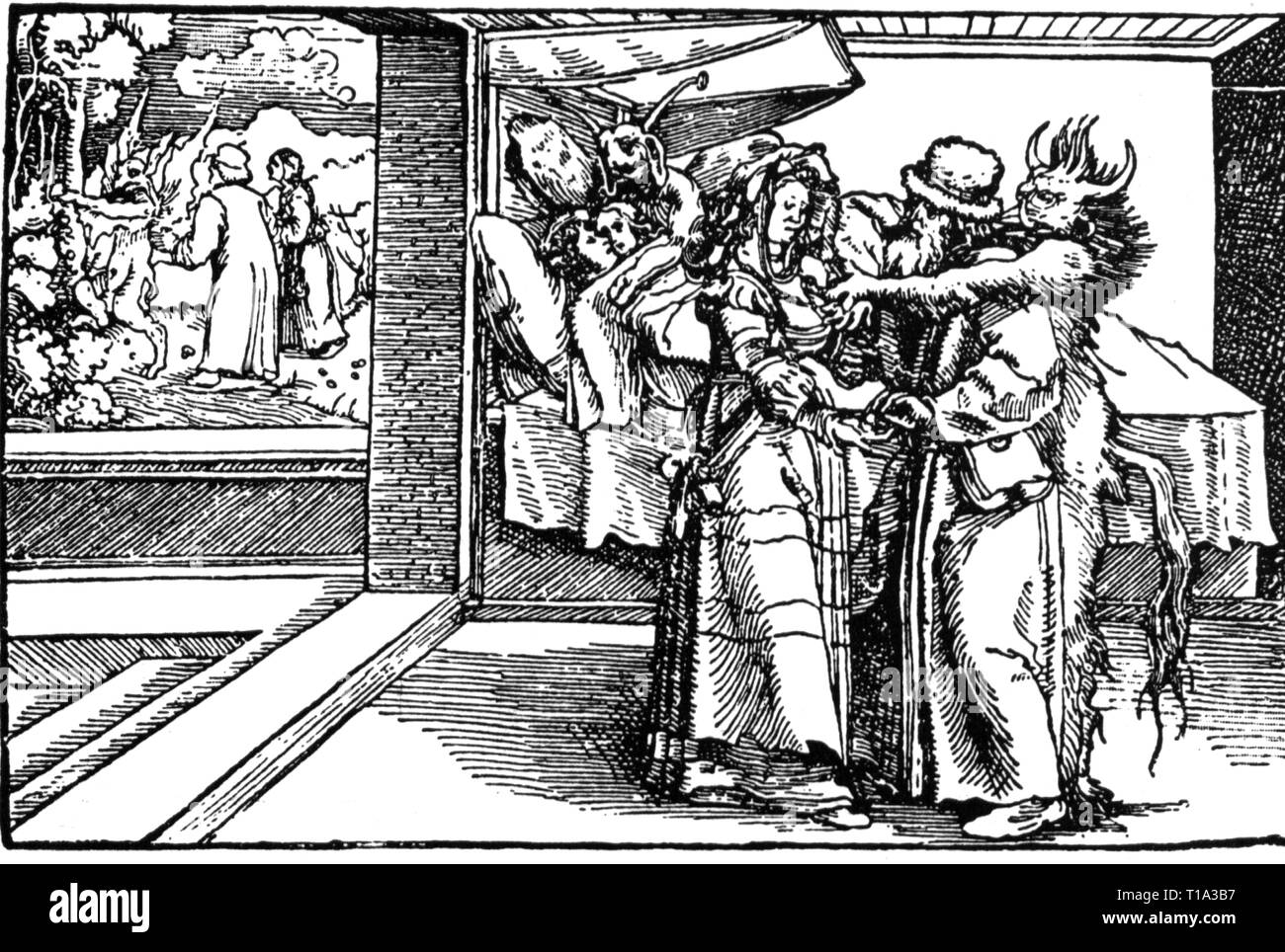 Religion, Engel und Teufel, Dämon der Bawdiness, Holzschnitt, Additional-Rights - Clearance-Info - Not-Available Stockbild