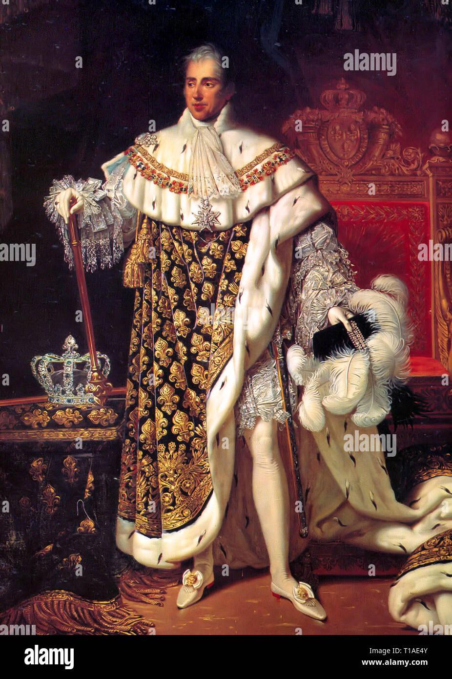 Porträt von Charles X von Frankreich im Coronation Roben - Robert LefEvre, 1825 Stockfoto