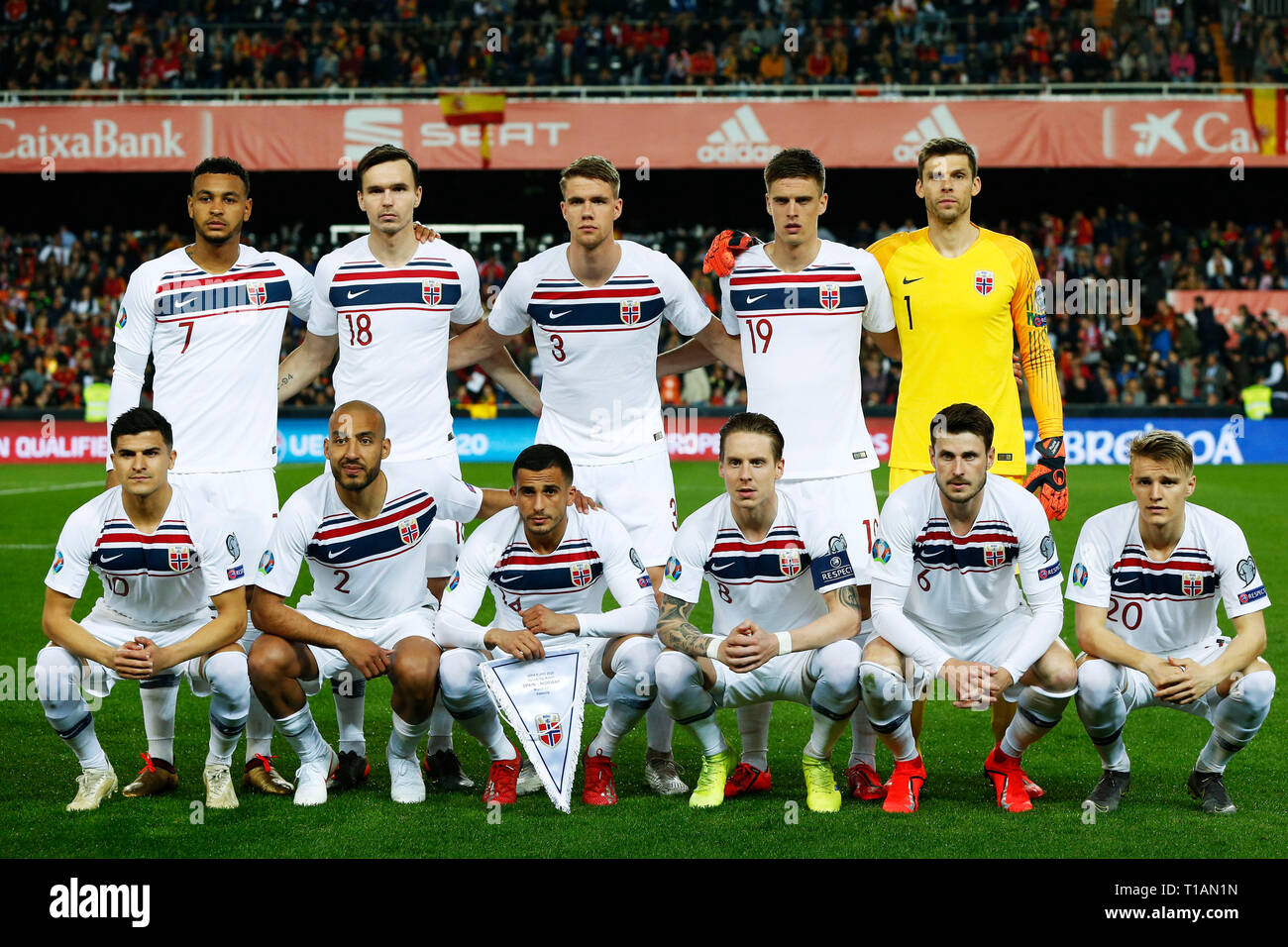 Norwegen Team Gruppe Line Up Nor 23 Marz 2019 Fussball