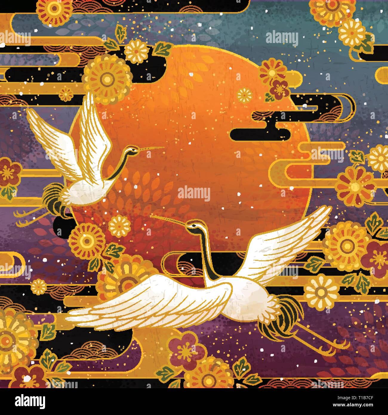 Traditionelle Japanische Kran Vogel Und Chrysantheme Muster Stock Vektorgrafik Alamy