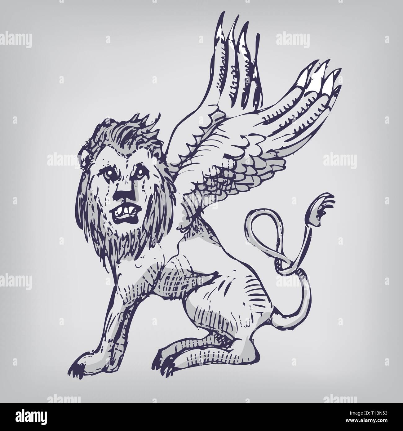 fabelwesen löwe mit flügeln