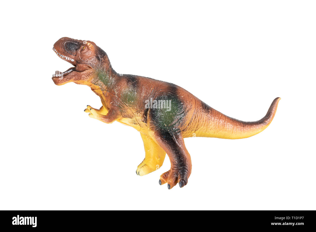 ein grosser dinosaurier spielzeug aus kautschuk auf weissem hintergrund t1d1p7