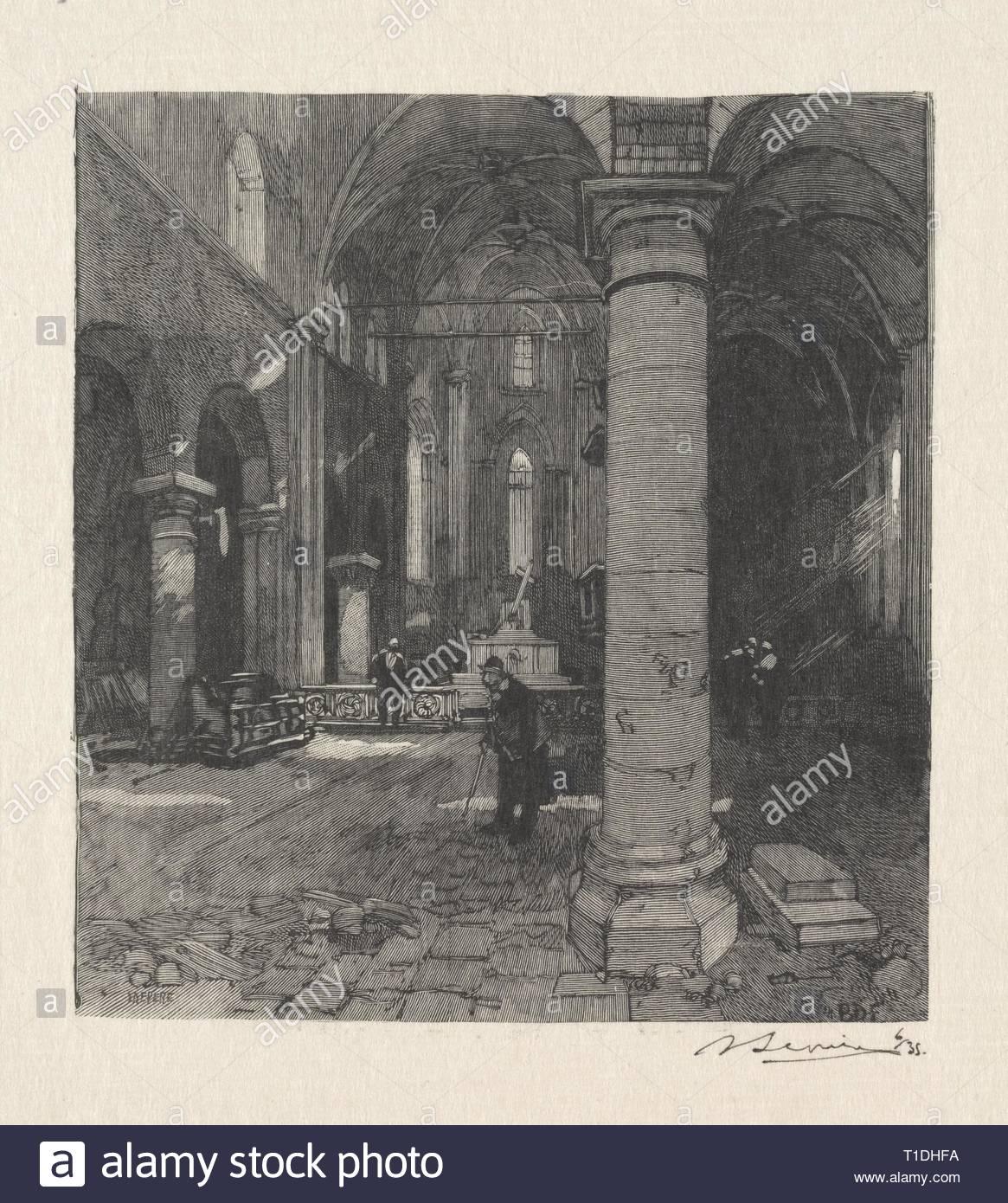 Interieur de l'Eglise. Louis Auguste Lepère (Französisch, 1849-1918). Holzstich. Stockbild