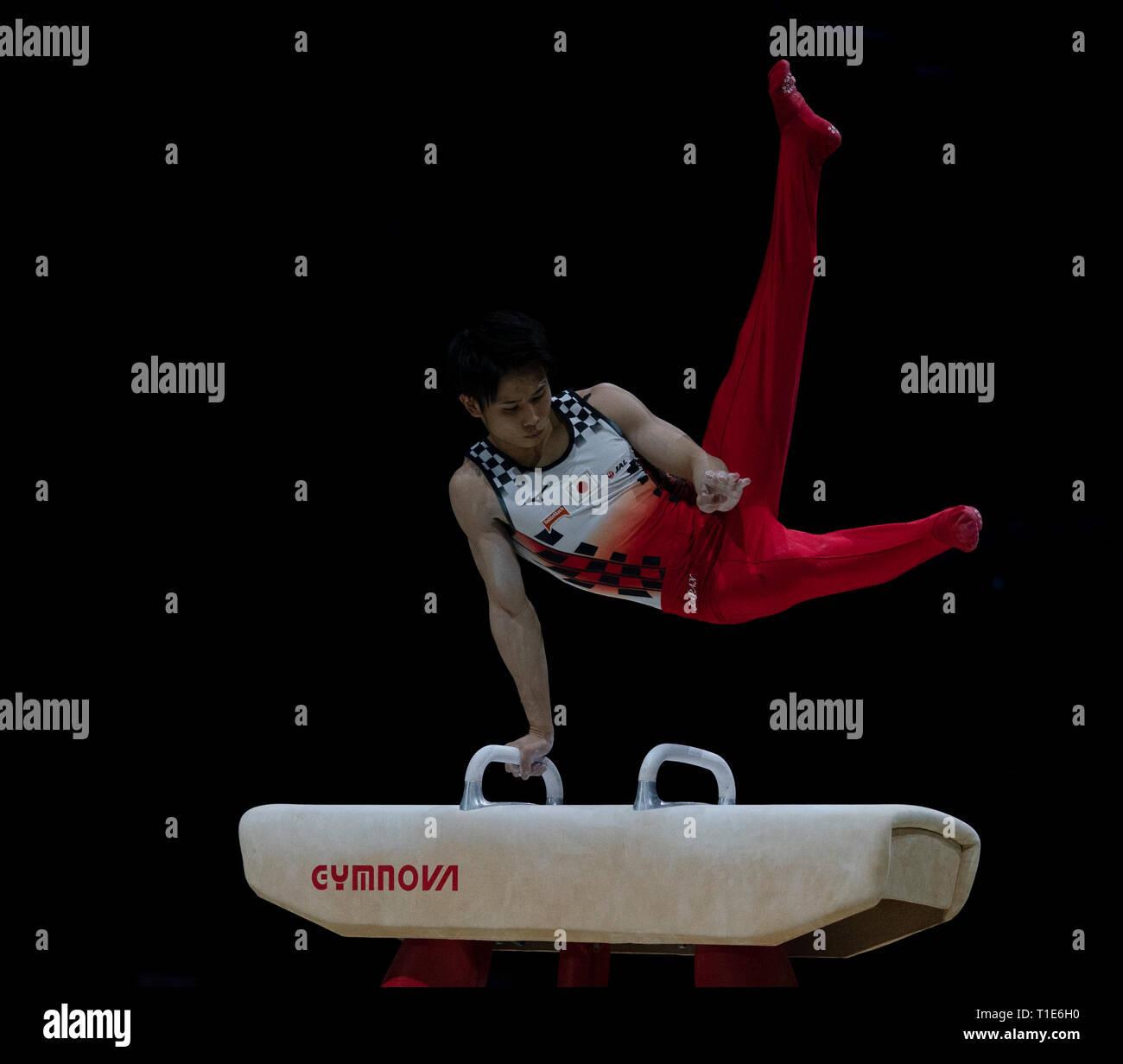 Kazuma Kaya (Japan), die in Aktion während der Gymnastik WM2019 in Genting Arena Birmingham Vereinigtes Königreich am 23. März 2019. GlennSports. Stockfoto