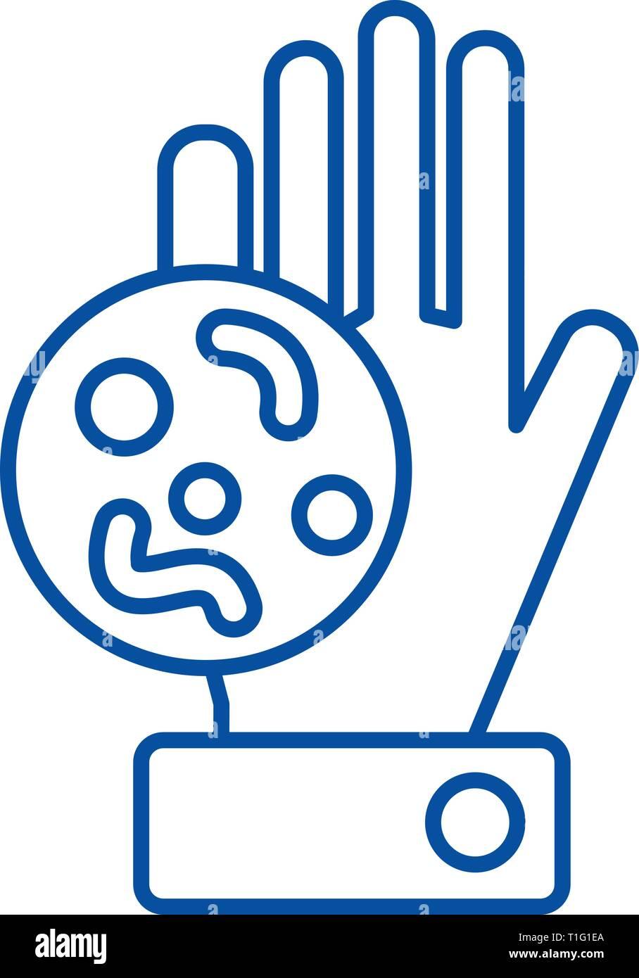 Bakterien, schmutzige hand Symbol Leitung Konzept. Bakterien, schmutzige hand Vektor Symbol, Zeichen, umriss Abbildung. Stockbild