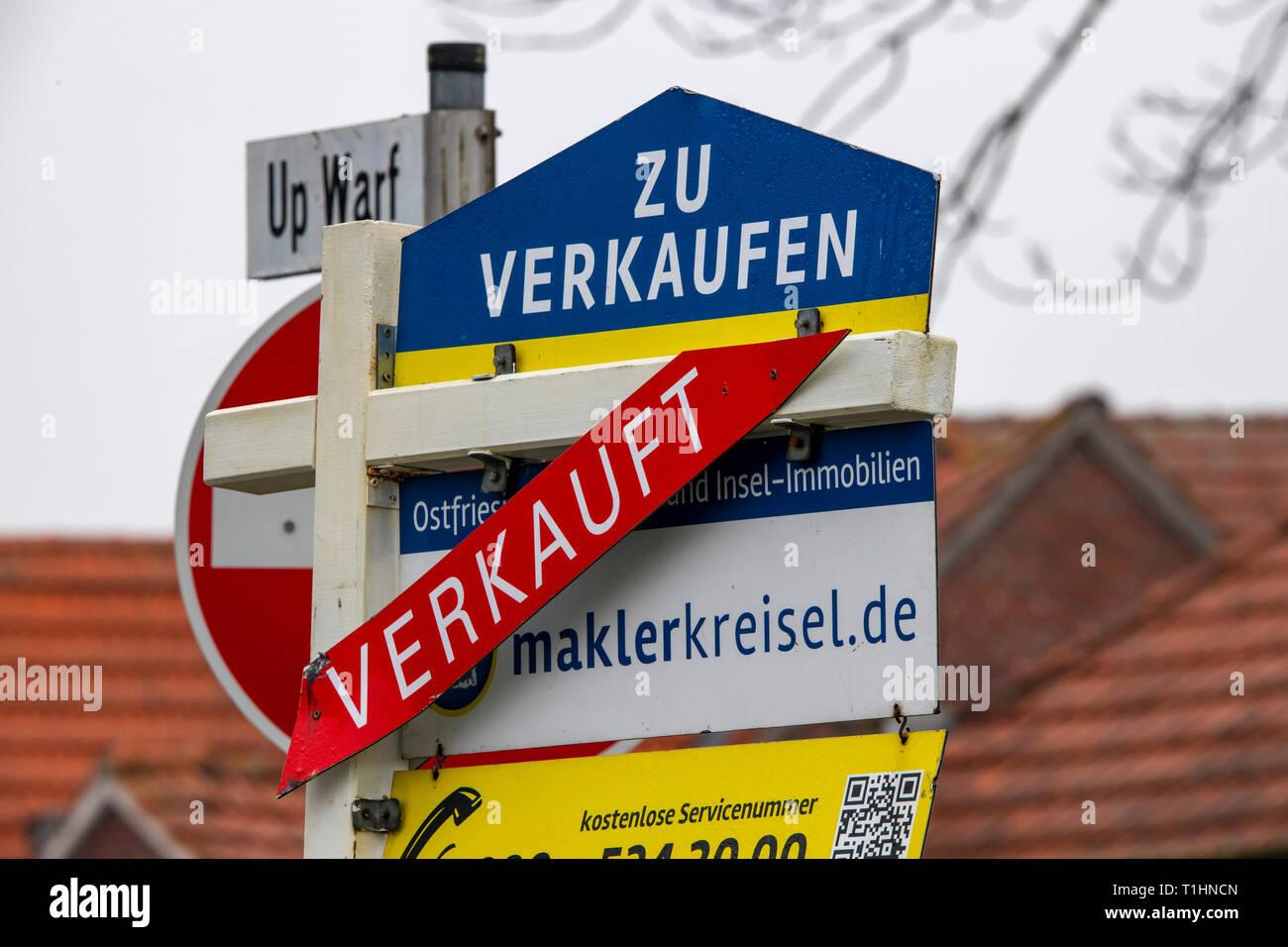 Immobilien zu verkaufen, wurde verkauft, Brokerage, Ostfriesland, Niedersachsen, Stockbild