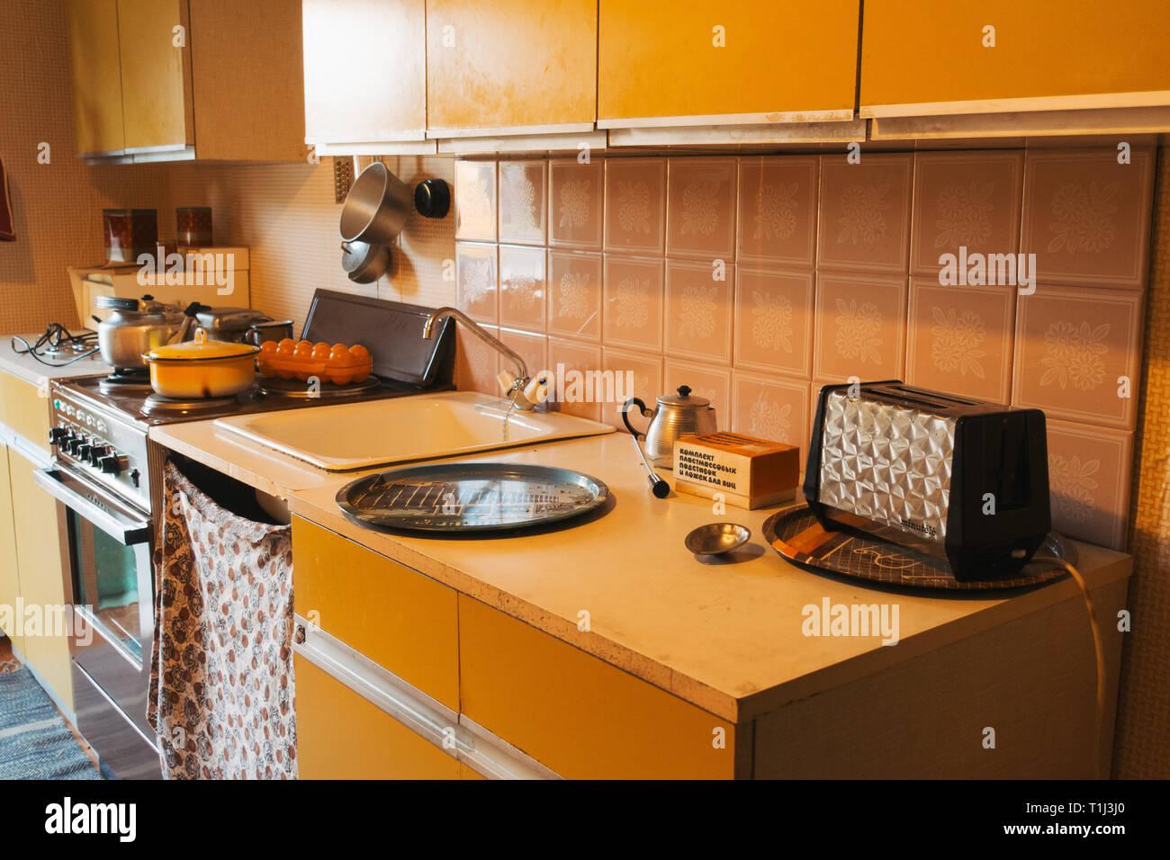 Ein Modell der 70er Jahre gestaltete Küche, Zielen zu ...