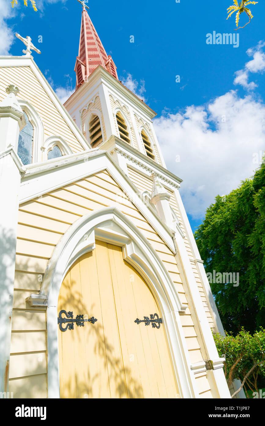 Architektonisches Detail auf auffallende rosa Turm der Kirche in Blenhiem Neuseeland Stockfoto