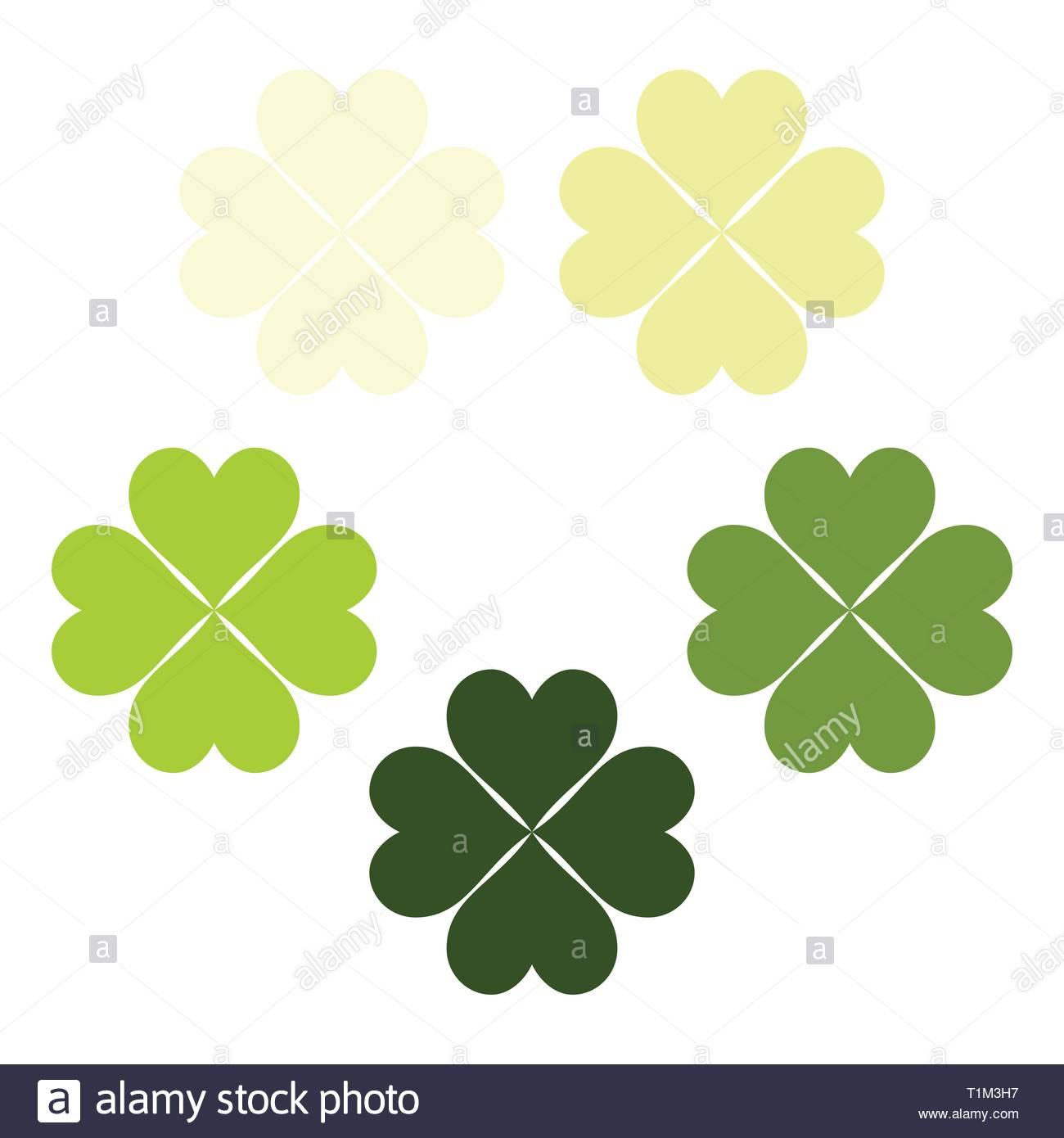Ein leichtes grün eingestellt von Clover Blätter, ein Symbol für Glück, poker Symbol. Stockbild
