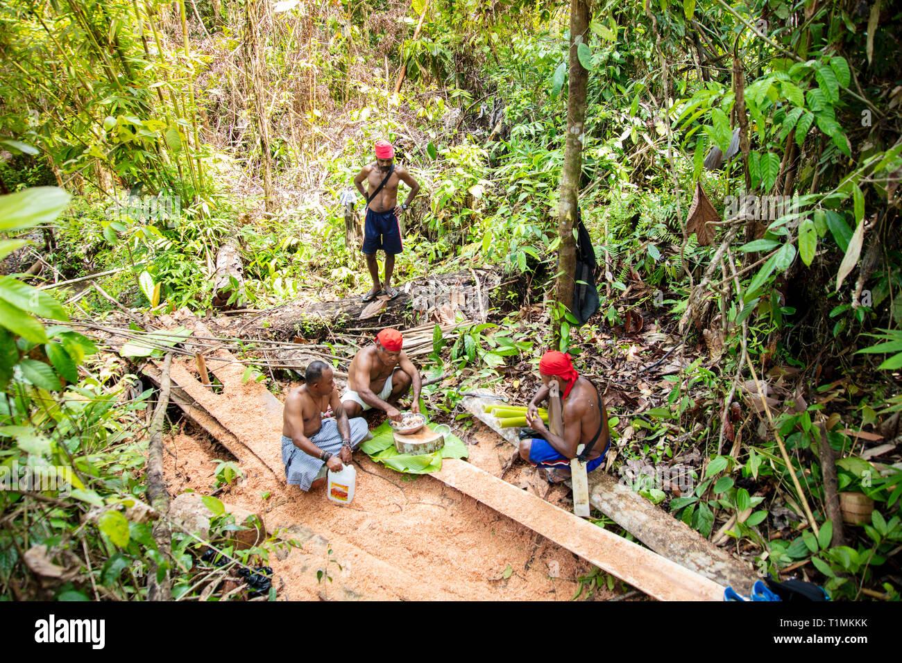 Indigene Alfur Jäger der Nuaulu Gruppe, die eine Erde Backofen im Regenwald, Insel Seram, Molukken, Indonesien Stockfoto