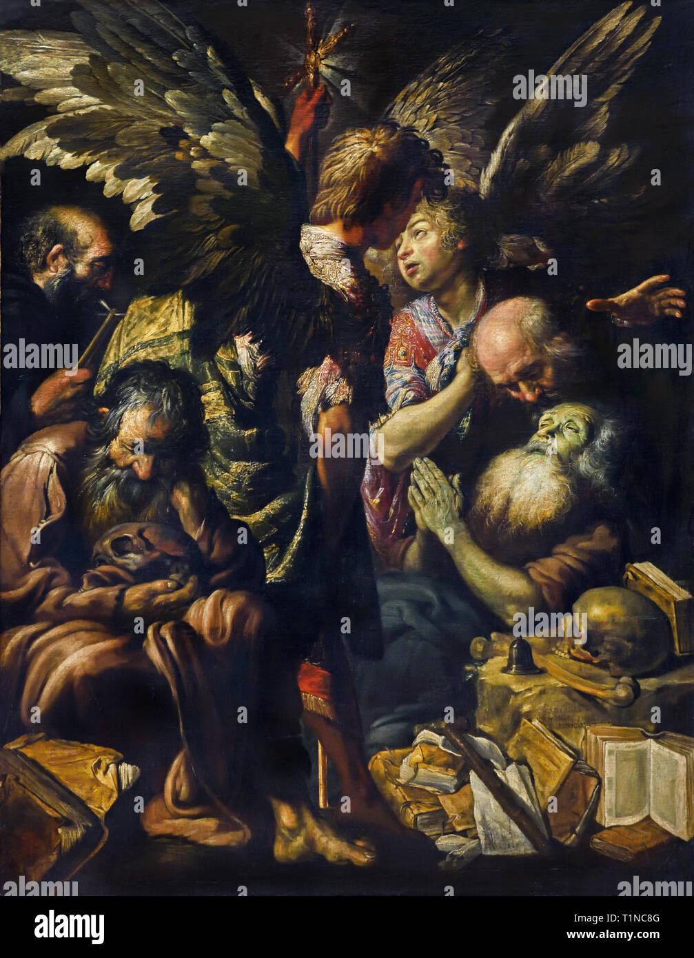 Der Tod des Heiligen Antonius 1620 Claude Vignon 1593 - 1670 Frankreich Französisch Stockbild
