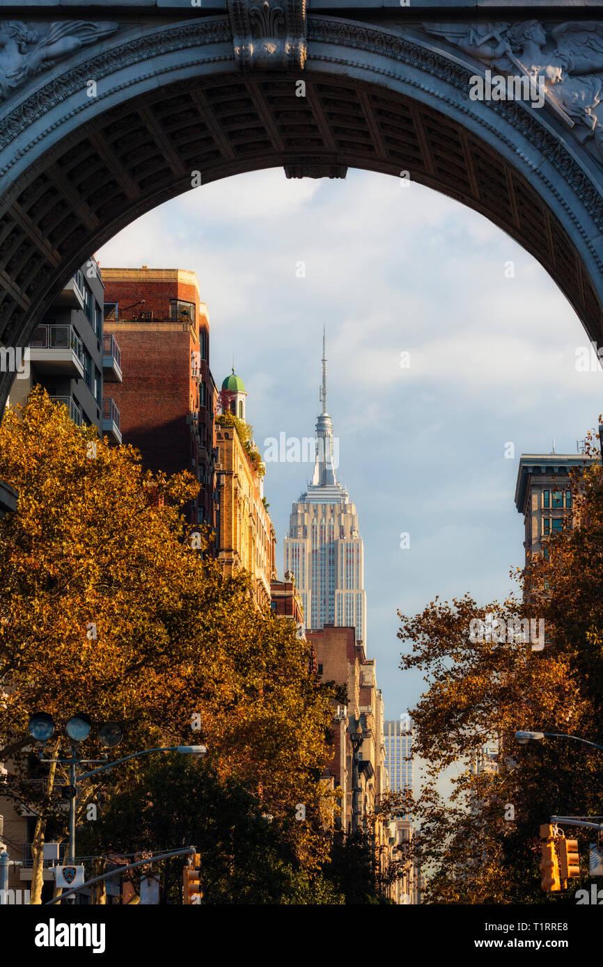 Empire State Building, New York City, New York State, USA. Die 102-Stöckiges Art-Deco-Gebäude, entworfen von dem Architekturbüro Shreve, Lamb & Harmon Stockbild