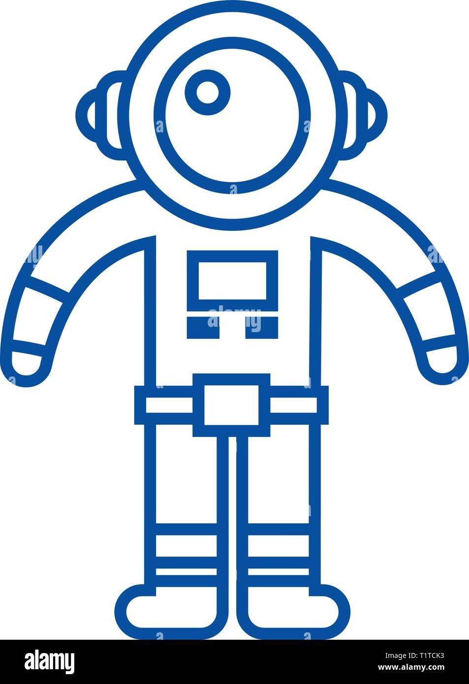 Spaceman Symbol Leitung Konzept. Spaceman flachbild Vektor Symbol, Zeichen, umriss Abbildung. Stockbild