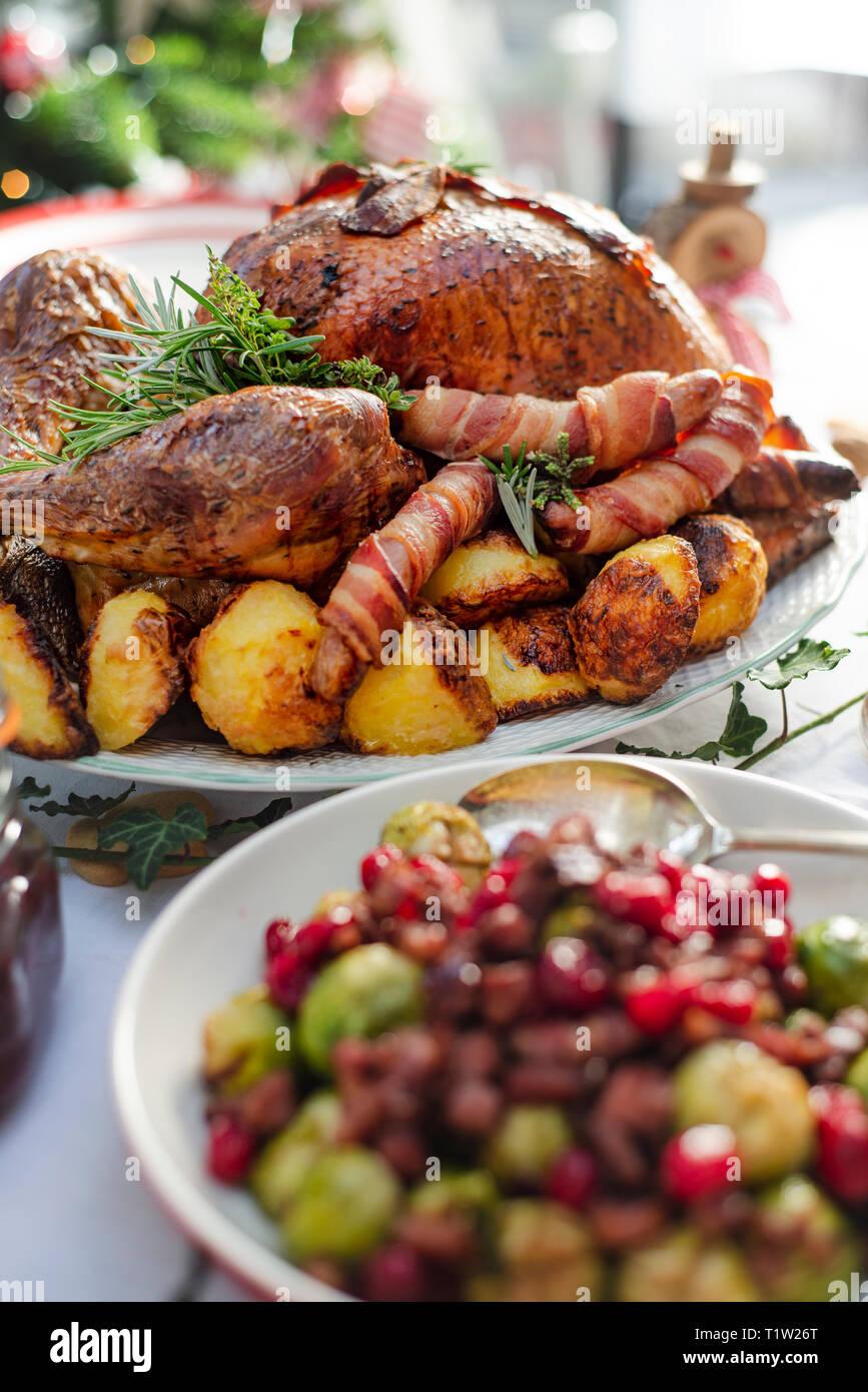 Braten Weihnachten.Braten Weihnachten Türkei Bereit Um Bedient Zu Werden Stockfoto