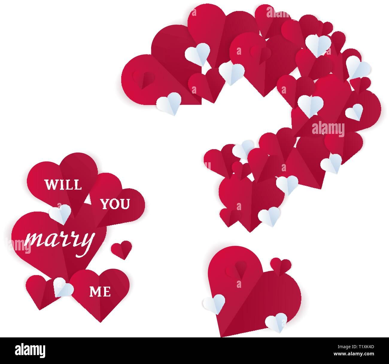 Valentinstag Herz Aus Papier Fragezeichen Romantische Willyou Mich