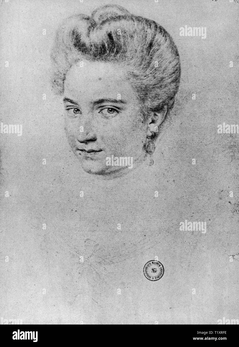Bildende Kunst, Renaissance, Porträt einer Frau, die möglicherweise Gabrielle d'Estree, Zeichnung, 1597, Additional-Rights - Clearance-Info - Not-Available Stockbild