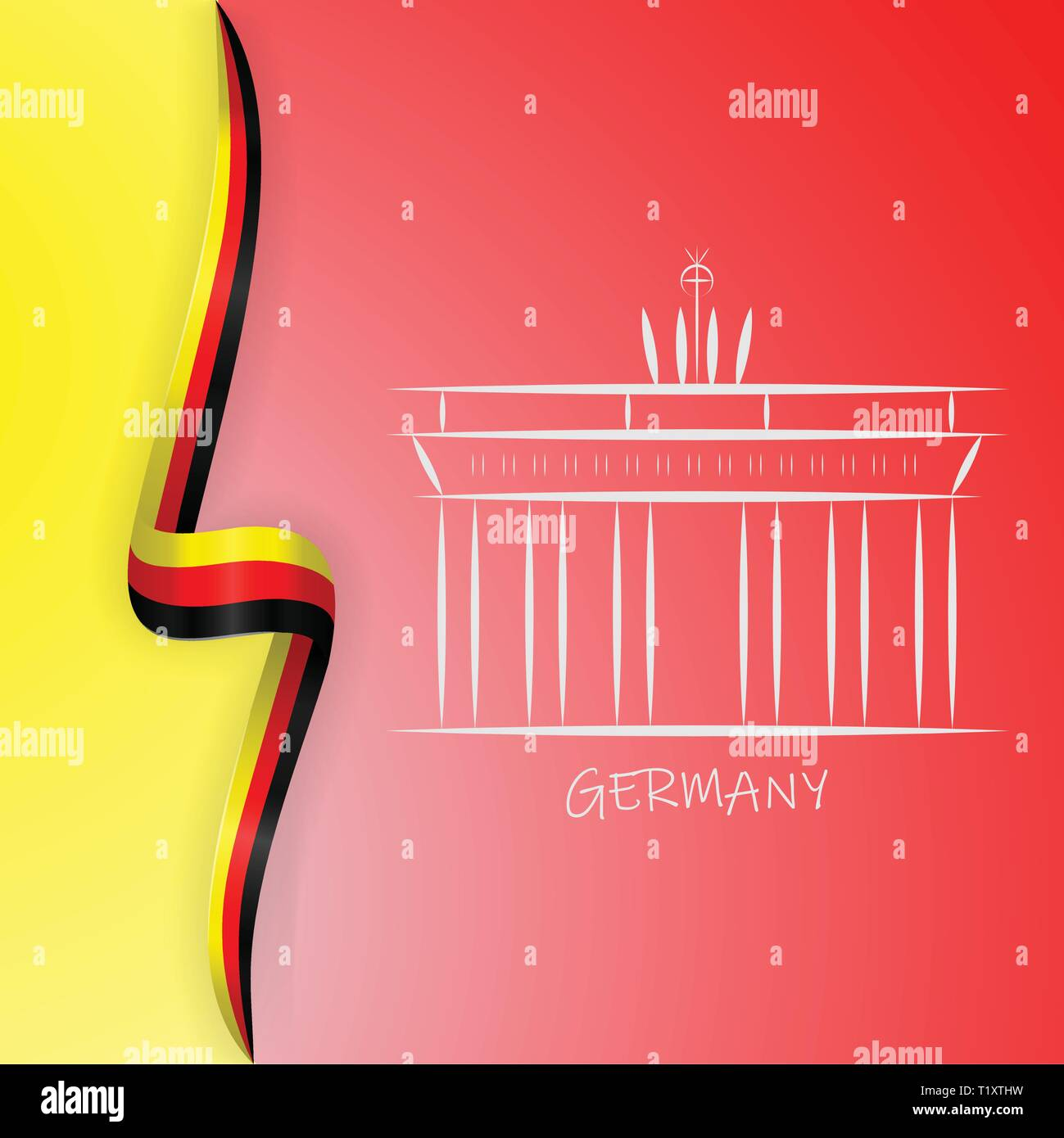 Deutschland Fahne Wave Und Brandenburger Tor Brandenburger Tor Stock Vektorgrafik Alamy