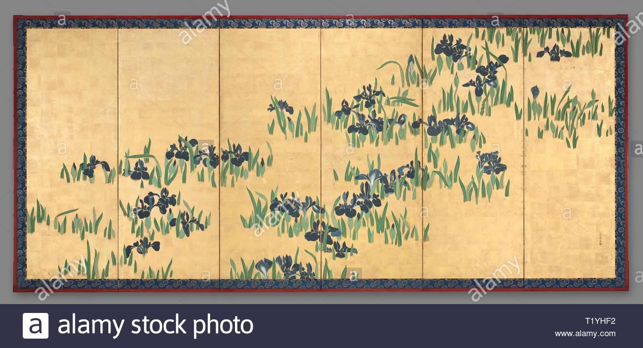 Paar Von Sechs Panel Faltschirmen Stockfotos Paar Von Sechs Panel