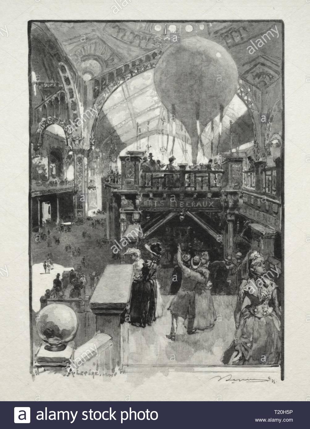 Le Palais des Arts Liberaux, Intèrieur. Louis Auguste Lepère (Französisch, 1849-1918). Holzstich. Stockbild