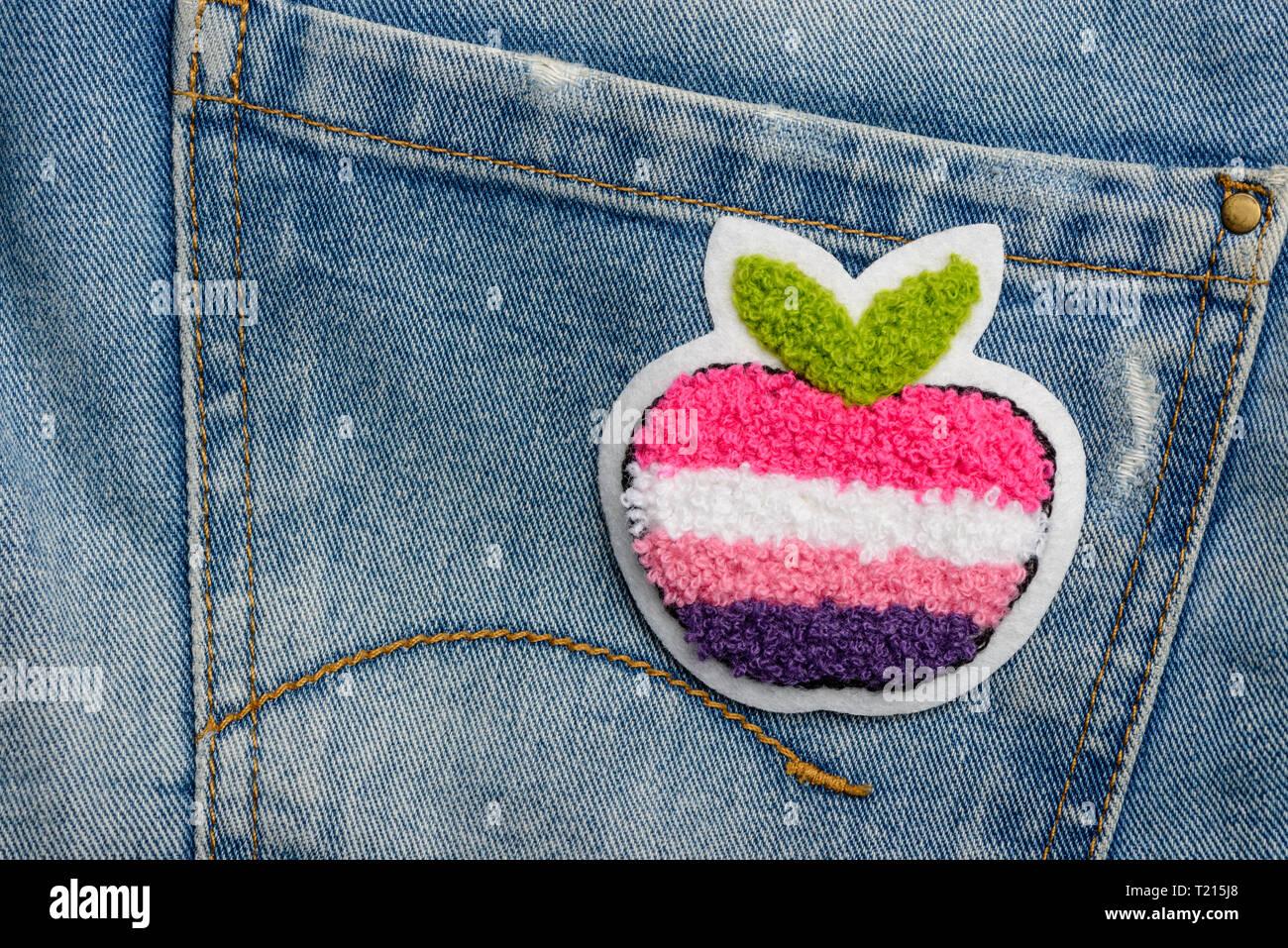Multicolor apple Stoff patch Stockbild