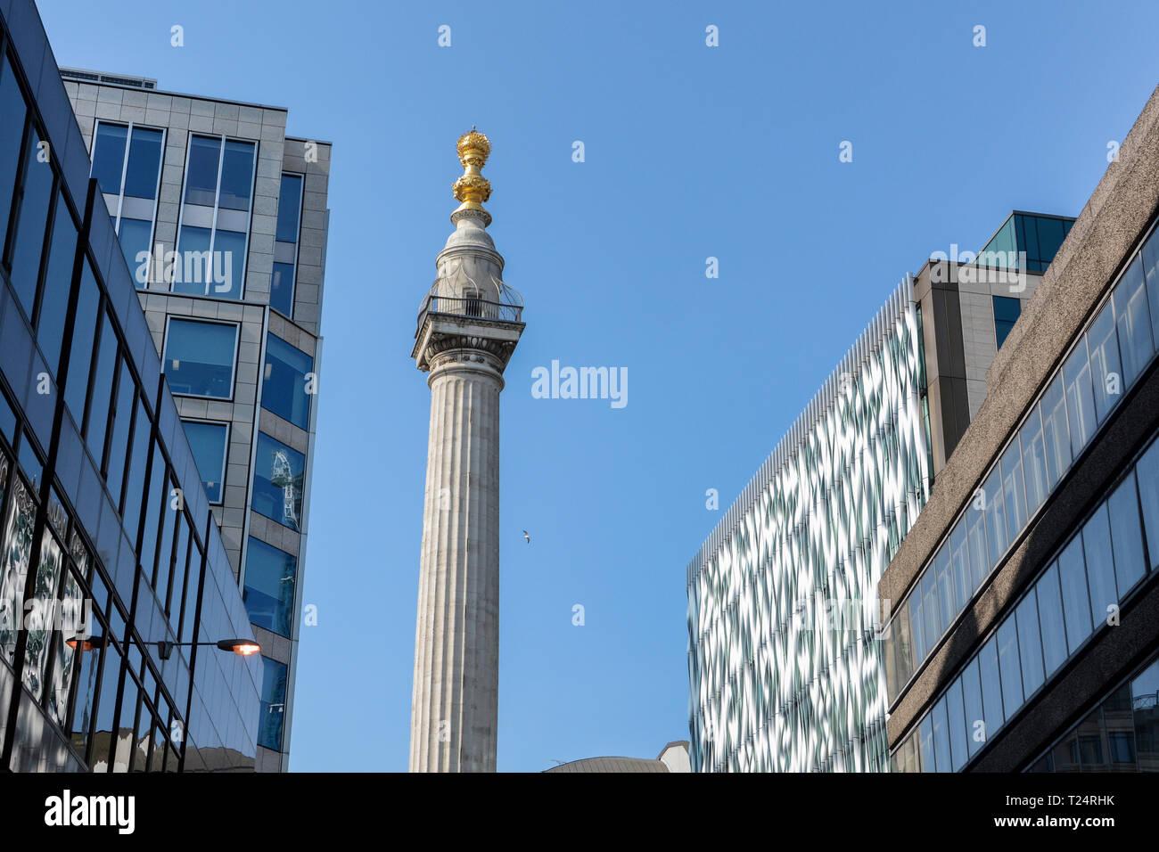 Das Denkmal für den großen Brand von London in der Stadt London, Großbritannien Stockbild