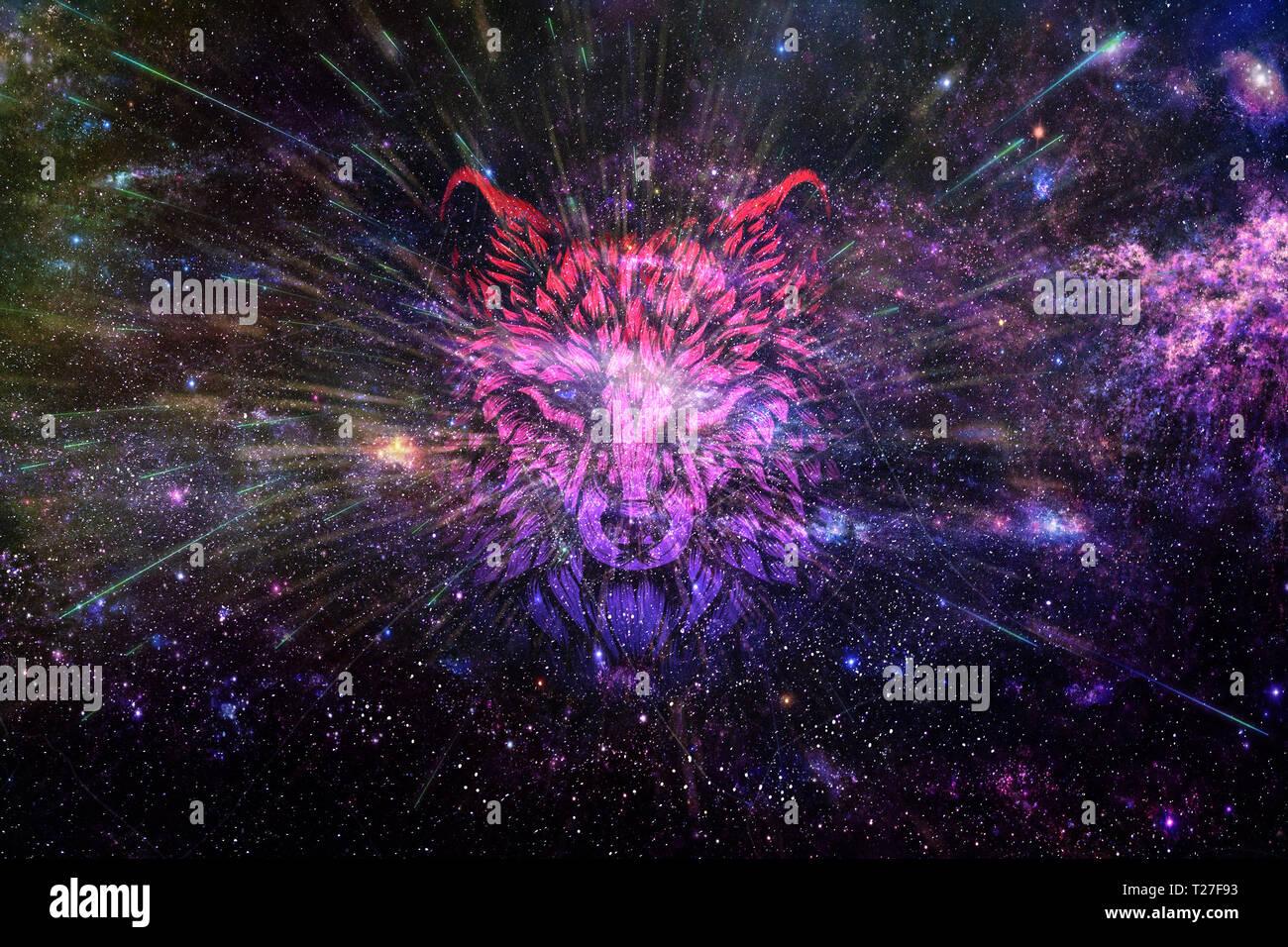 Abstrakte Kunst Dunkle Digitale Galaxie Mit Einer Abstrakten Kunstlerischen Digitalen Wolf Hintergrund Stockfotografie Alamy
