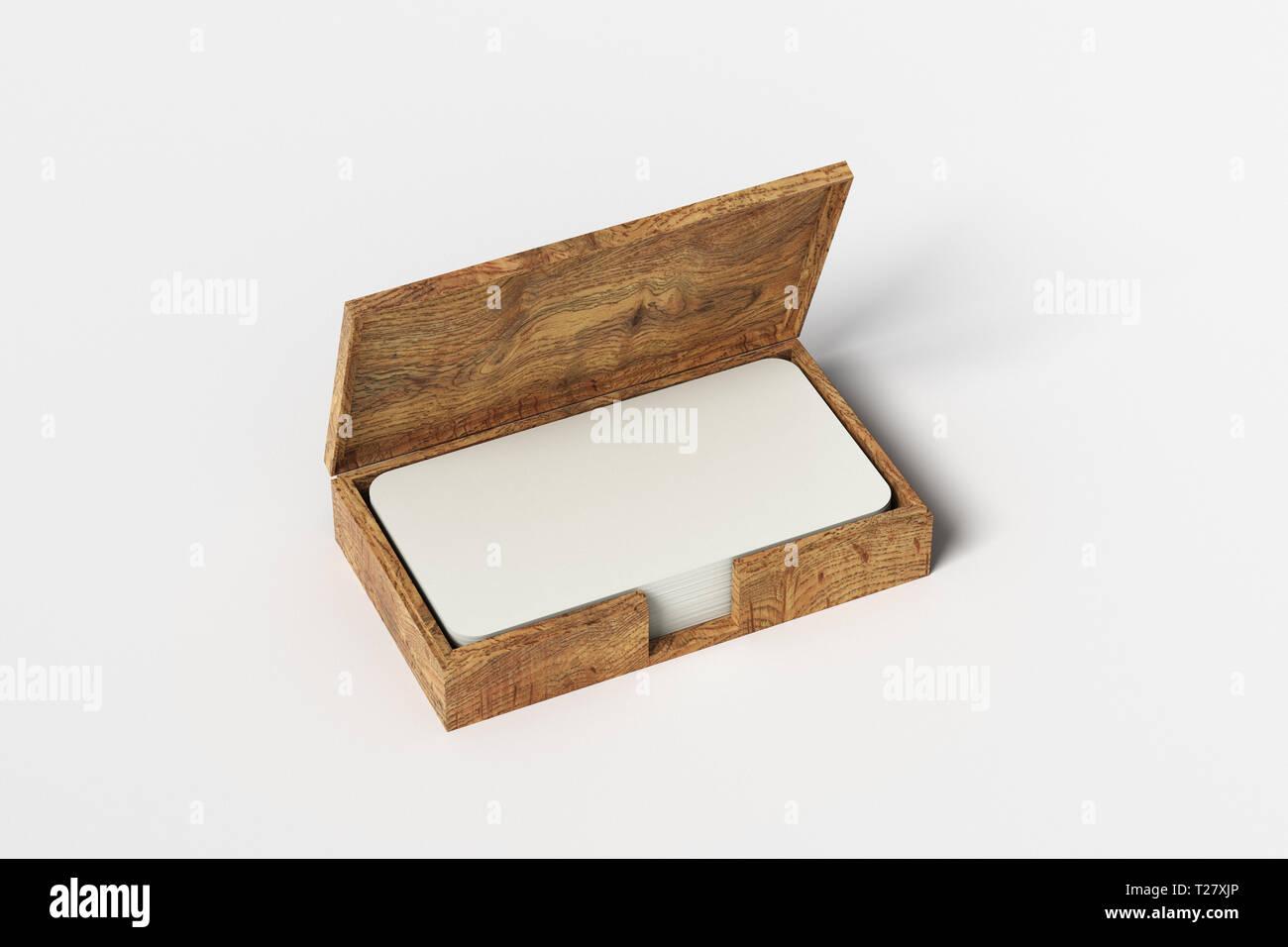 Holz Business Card Box Halter Mit Leeren Visitenkarten Mit