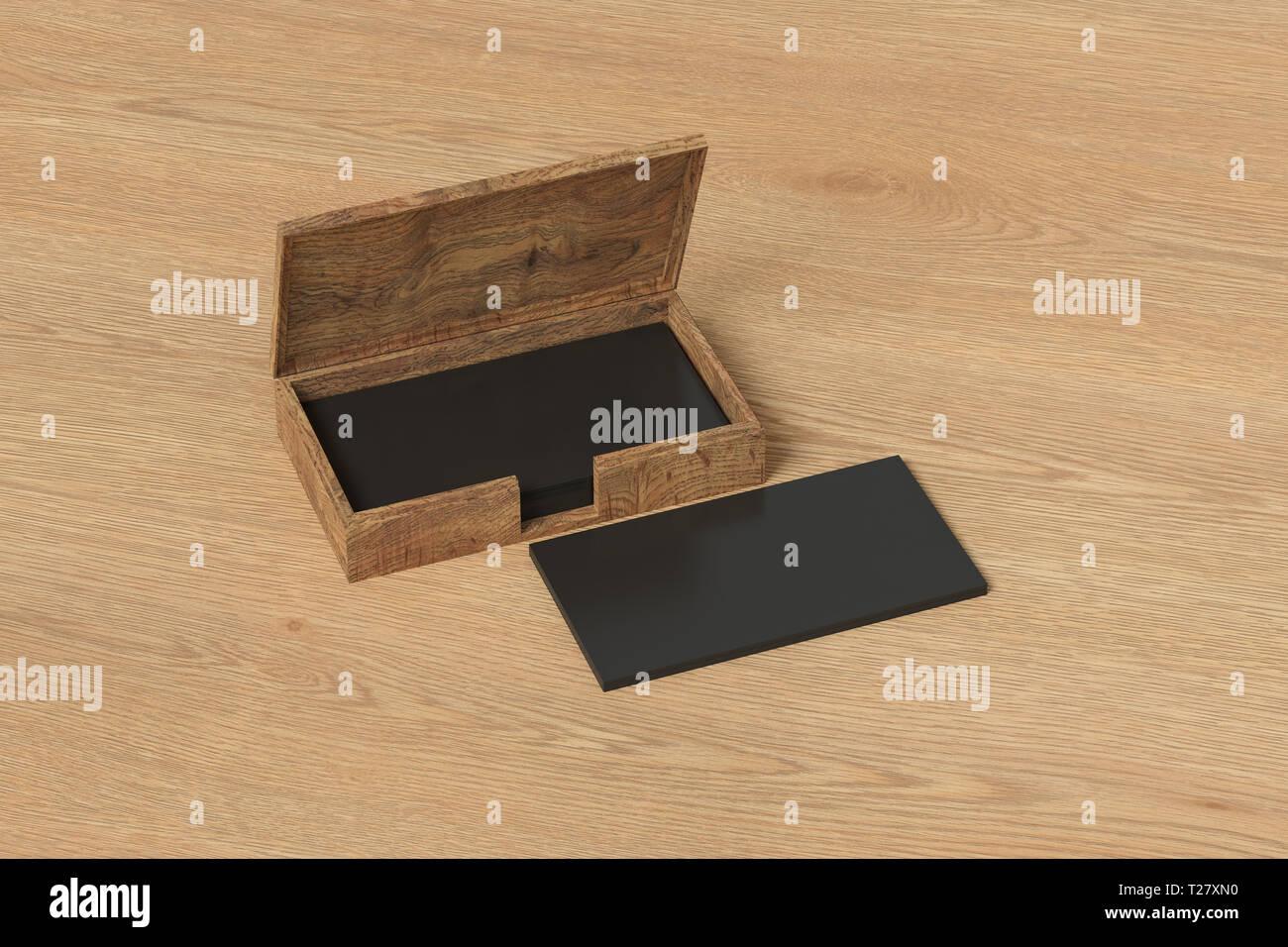 Holz Business Card Box Halter Mit Schwarzen Visitenkarten
