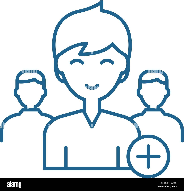 Neuen Benutzer Symbol Leitung Konzept hinzufügen. Neuen Benutzer flachbild Vektor Symbol, Zeichen hinzufügen, umriss Abbildung. Stock Vektor