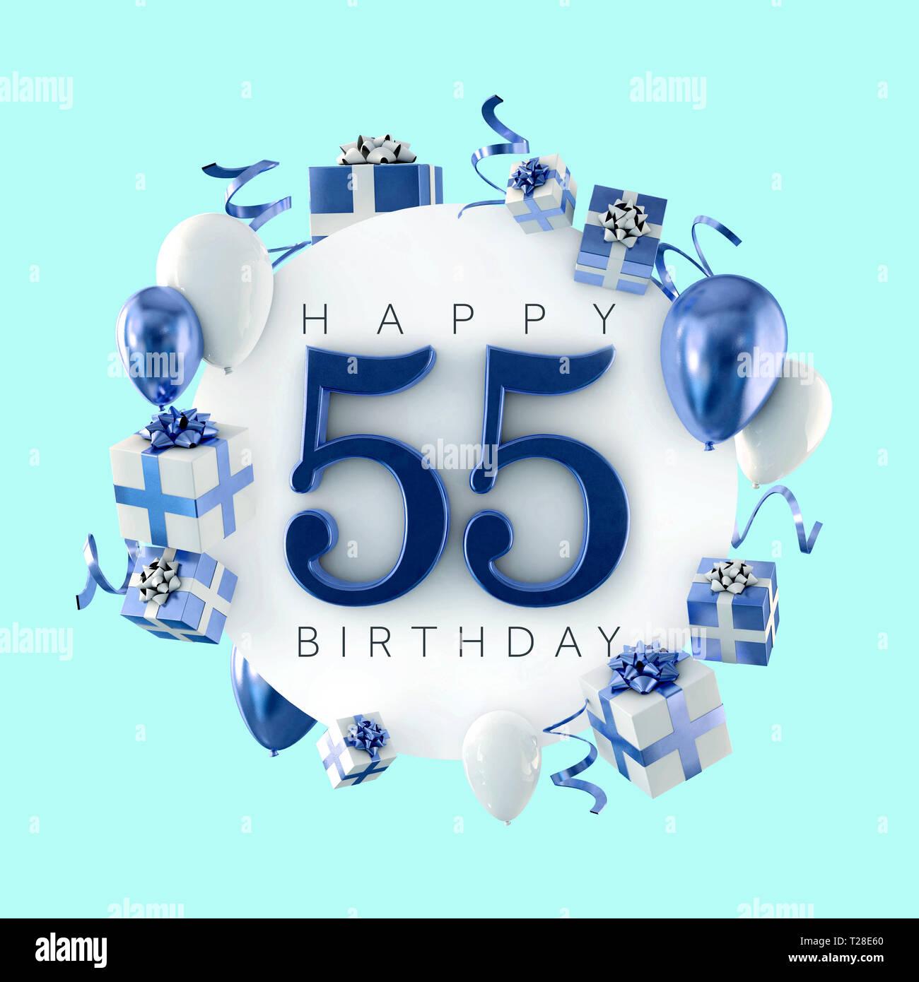 Happy 55th Birthday Party Zusammensetzung Mit Ballons Und Prasentiert 3D Rendering