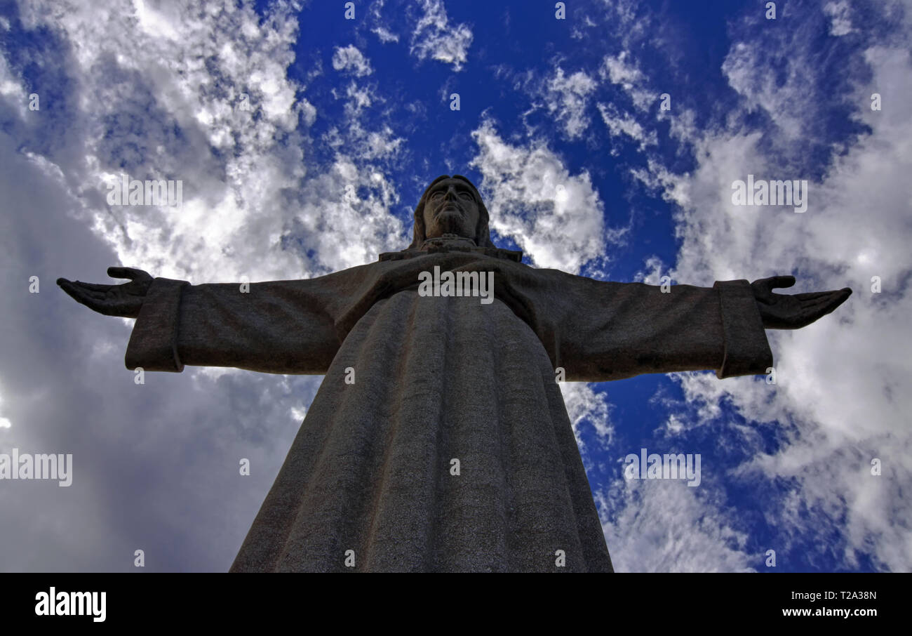 Cristo-Rei, Christus, dem König, Statue in Lissabon Stockbild