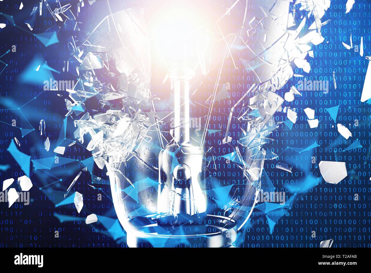 3D-Illustration explodierende Glühbirne auf einem blauen Hintergrund, Konzept kreatives Denken und innovative Lösungen. Netzwerkverbindung Linien und Punkten. Inno Stockfoto