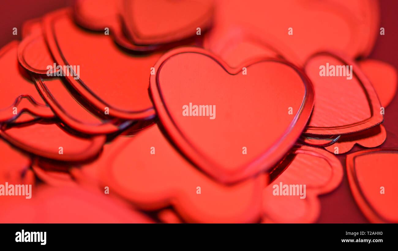 Rotes Herz Konfetti Stockbild