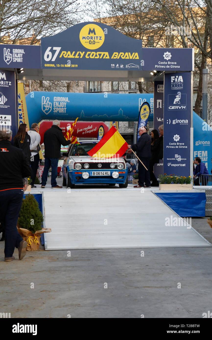 Start der 67th Edition von Moritz historische Rallye Costa Brava in Girona, Spanien am 15.03.2019 Stockbild