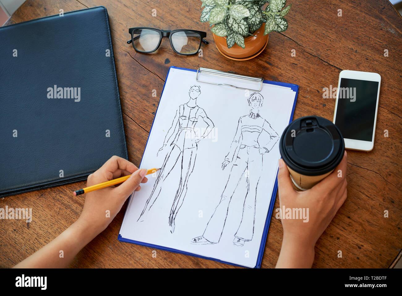 Designer Mode Zeichnung Skizze Stockbild