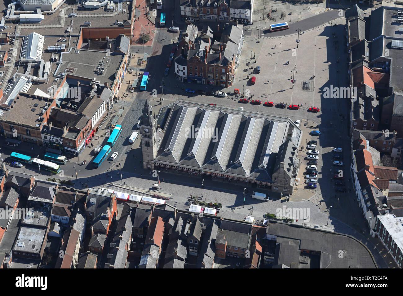 Luftaufnahme von Darlington Halle & Open Market Stockbild