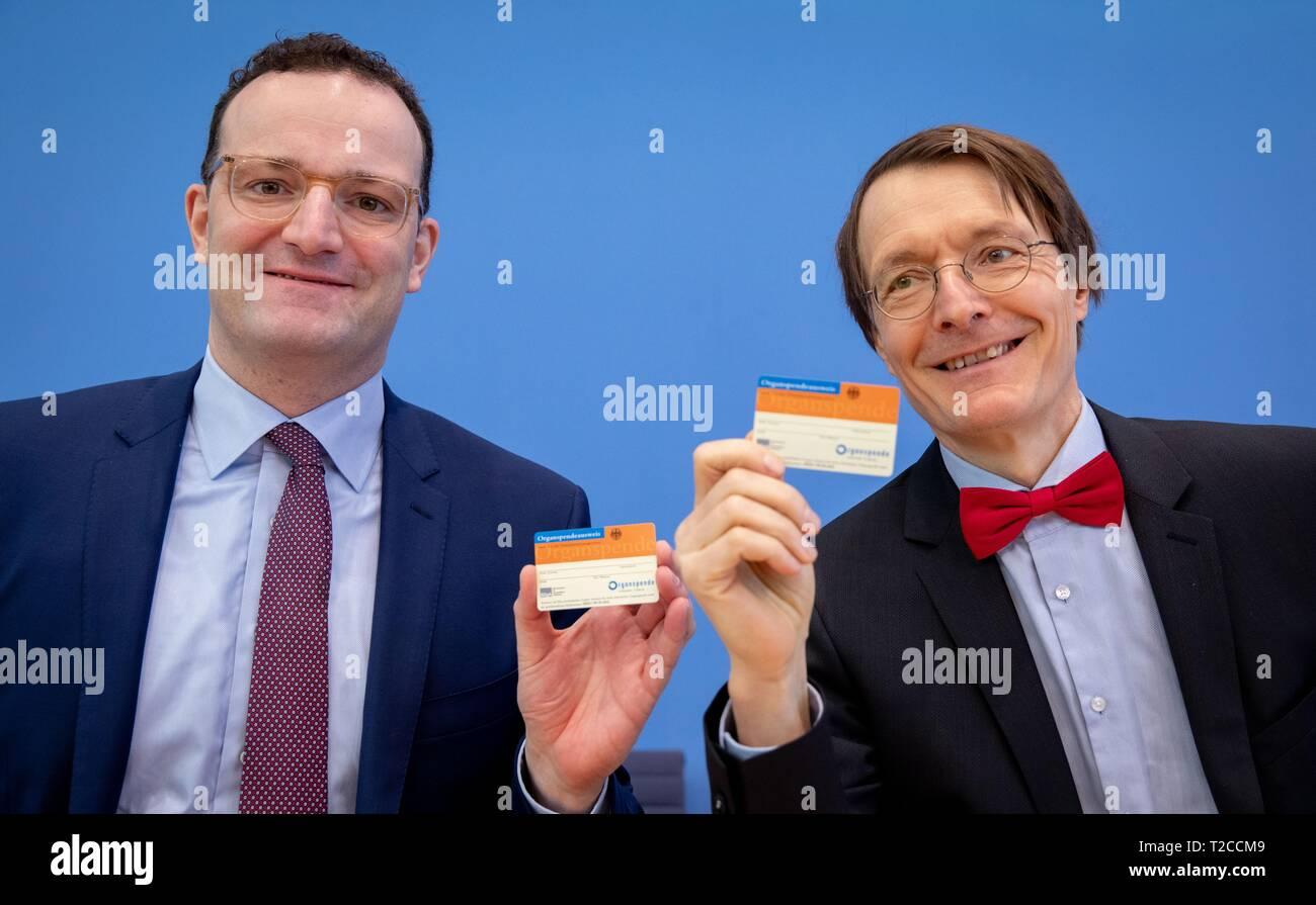 Berlin Deutschland 01 Apr 2019 Jens Spahn Cdu L R Bundesminister Fur Gesundheit Und Karl Lauterbach Stellvertretender