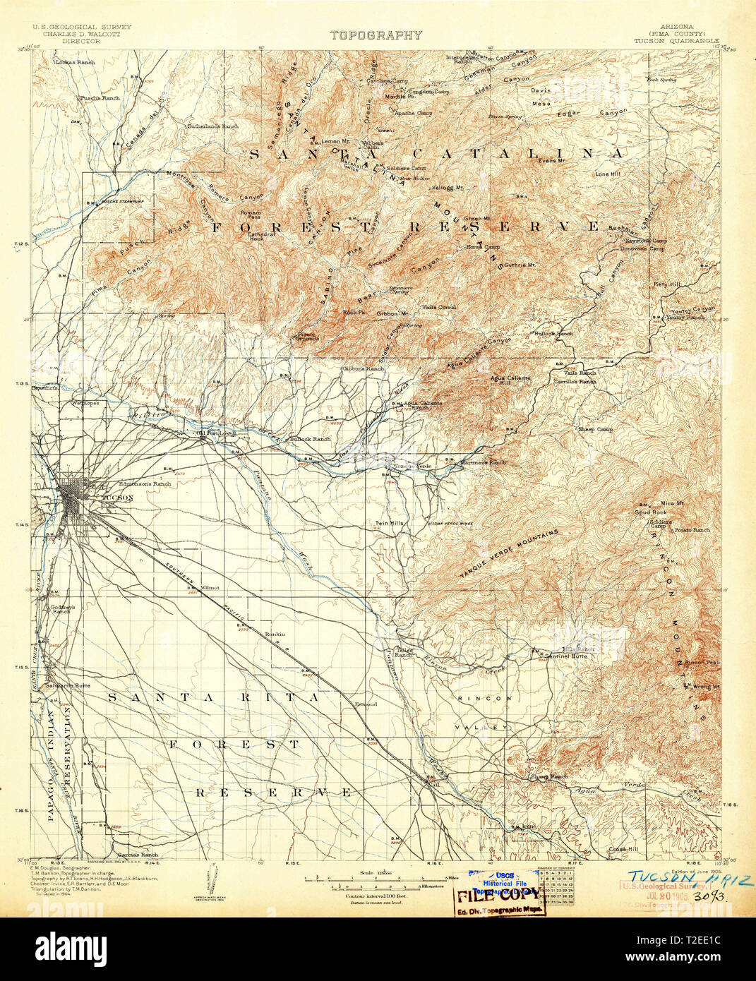Tucson Arizona Karte.Usgs Topo Karte Az Arizona Tucson 315409 1905 125000
