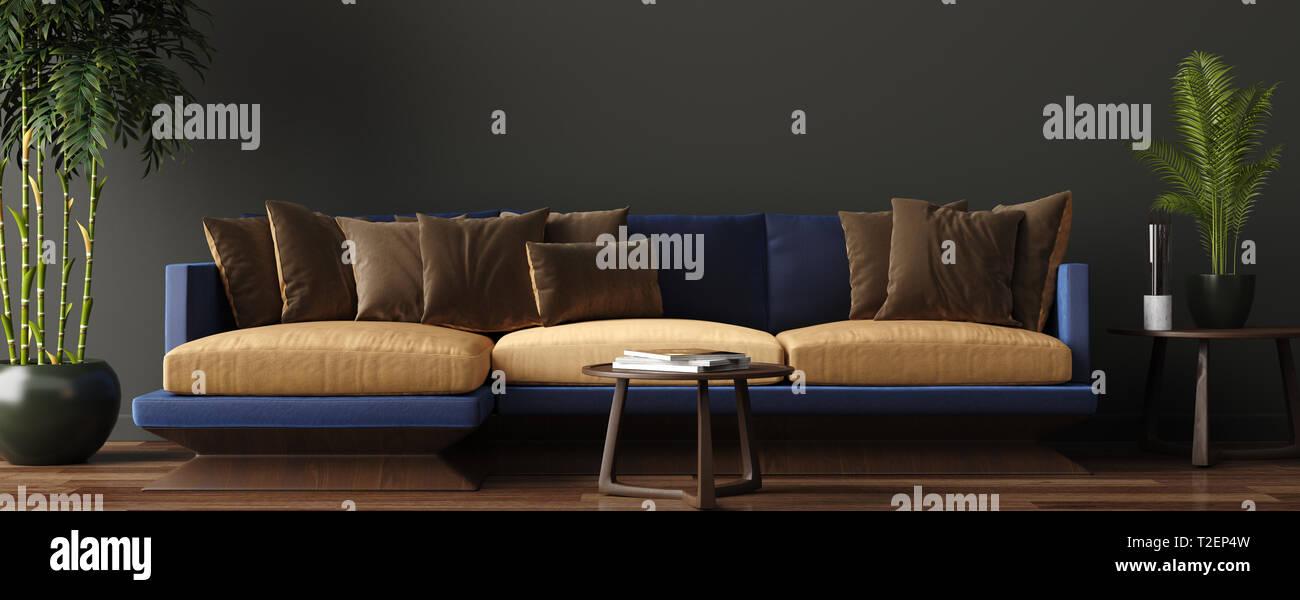 Luxuriöses, modernes Wohnzimmer Einrichtung, dunkle Grün ...