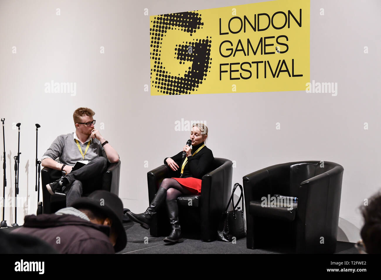 London, Großbritannien. 02 Apr, 2019. Lautsprecher Noirin Carmody, Revolution in London Games Festival 2019: HUB im Somerset House in Strand, London, UK. Am 2. April 2019. Bild Capital/Alamy leben Nachrichten Stockbild