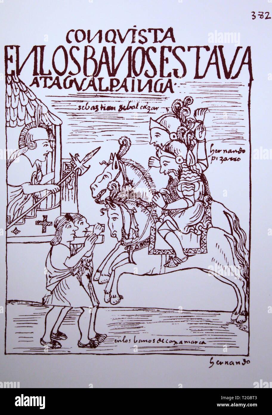 Die Conquistadores konfrontieren Inka Atahualpa am Königlichen Badewanne Cajamarca von Felipe Guamán Poma de Ayala (1535-1616) El primer Nueva crónica y buen Regierung. Stockbild
