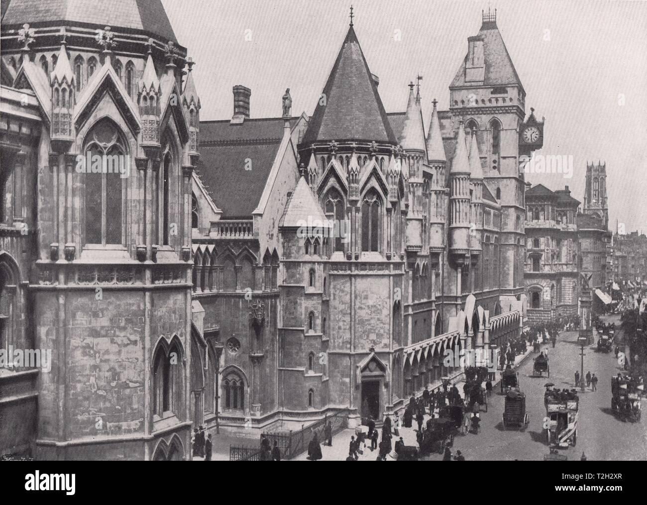 Die Gerichte - Blick nach Osten, der Temple Bar, und Fleet street Über Stockfoto