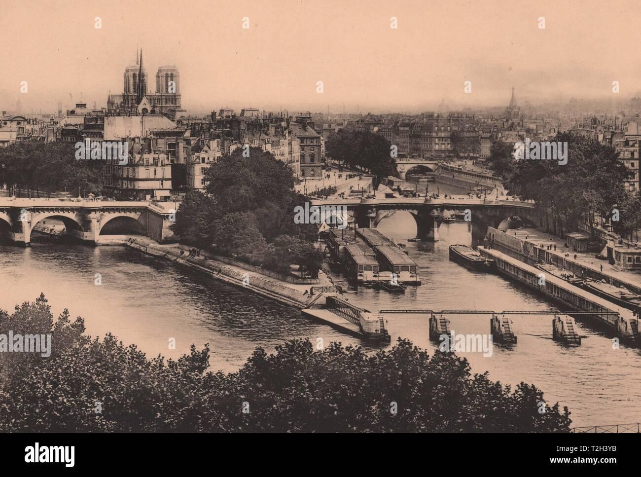 La Seine-et La Cité, Vue Prise du Pavillon de Flore Stockfoto