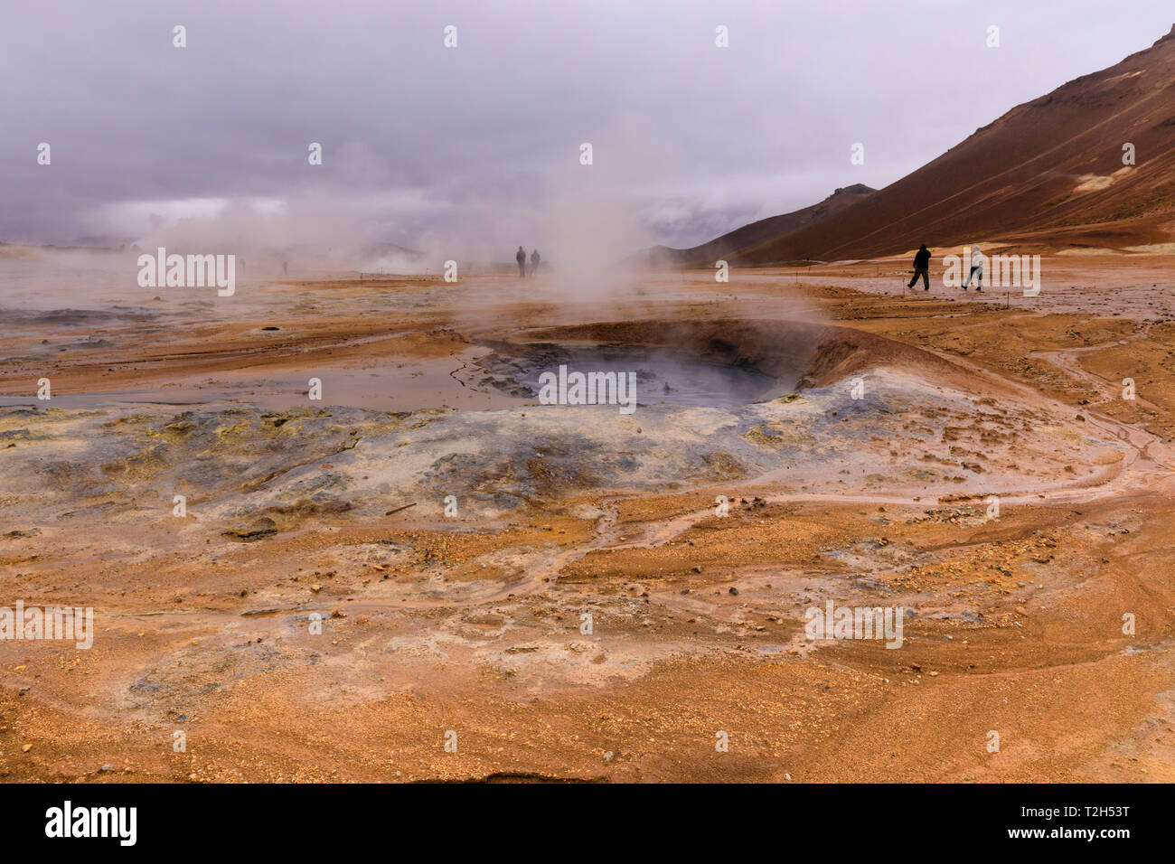 Namafjall geothermische Gebiet in Island, Europa Stockbild