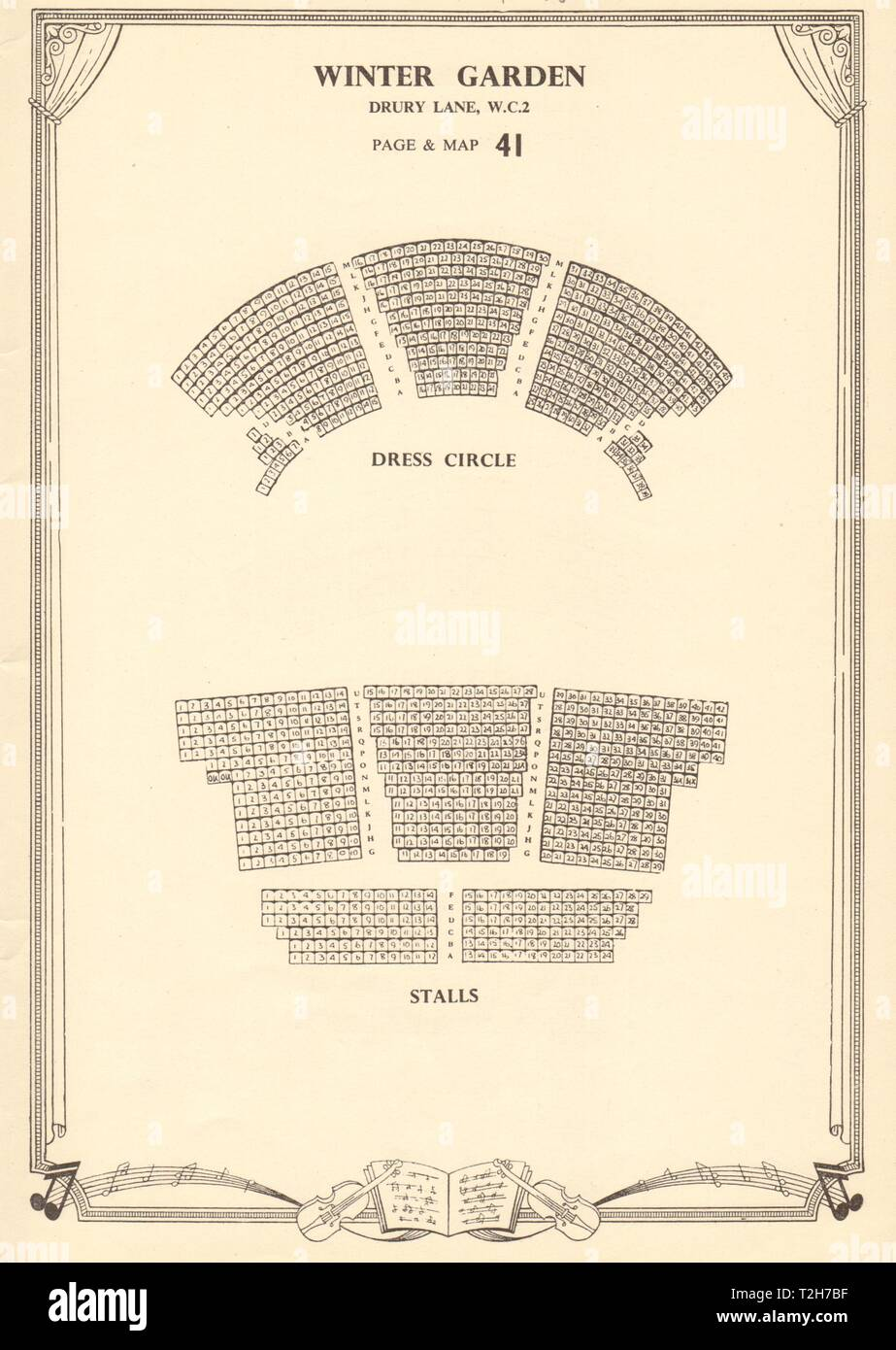 Wintergarten (Gillian Lynne) Theater, Drury Lane. Vintage Sitzplan c 1955 Stockbild